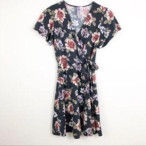 Francesca's | Blue Floral Print Faux Wrap Dress M